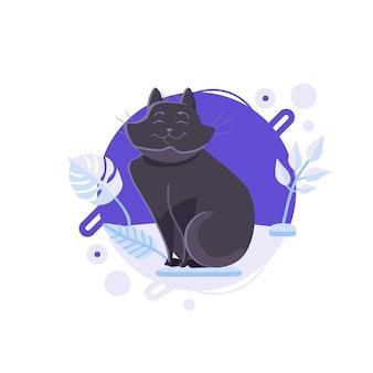 Gato de bombaim preto dos desenhos animados em pé na plataforma azul. ele está satisfeito e é o animal de estimação mais feliz do planeta.