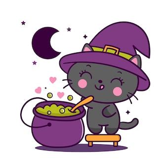 Gato de bruxa kawaii com caldeirão mágico