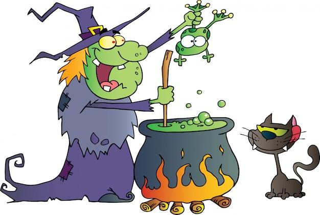Gato de bruxa maluca segurando um sapo e preparando uma poção