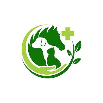Gato de cão e cavalo logotipo modelo veterinária