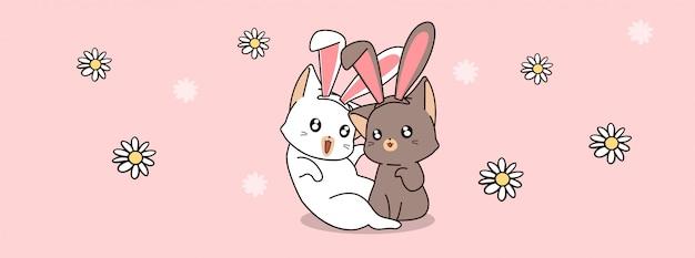 Gato de coelho adorável casal em dia de primavera