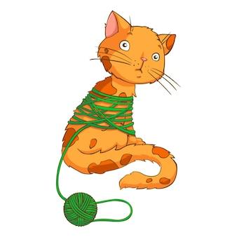 Gato de desenho animado brincando com fio isolado