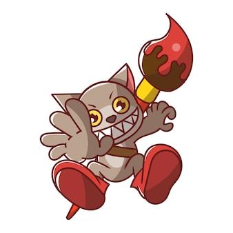 Gato de desenho animado com tinta