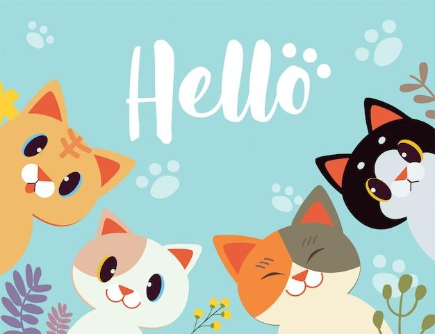 Gato de desenho animado de personagem dizer olá com fundo de flor