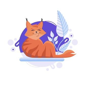 Gato de desenho animado deitado no chão e sorrindo alegremente. lince vermelho bebê.