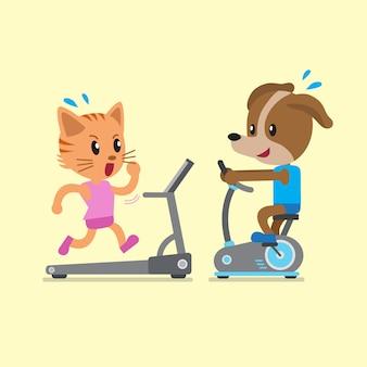 Gato de desenho animado e cachorro fazendo exercício