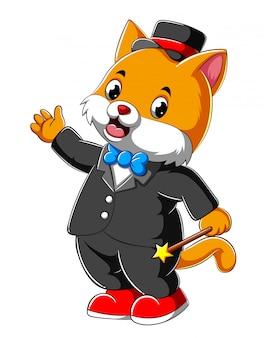 Gato de desenho animado em terno completo segurando a vara mágica