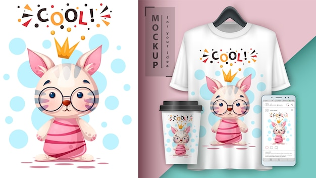 Gato de desenho animado, gatinho. design de t-shirt