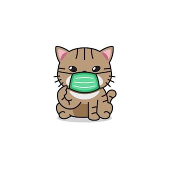 Gato de desenho animado personagem vestindo máscara protetora