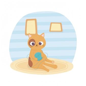Gato de estimação sentado com bola de lã na ilustração dos desenhos animados de tapete