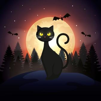 Gato de halloween com morcegos voando e lua na noite escura