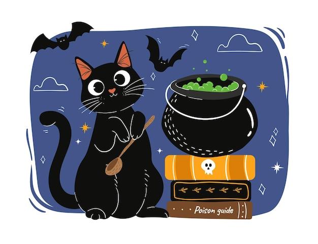 Gato de halloween desenhado à mão
