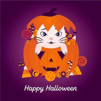 Gato de halloween desenhado