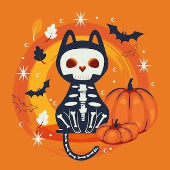 Gato de halloween disfarçado de personagem de caveira