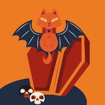 Gato de halloween disfarçado de personagem de vampiro
