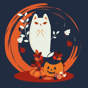 Gato de halloween disfarçado de personagem fantasma