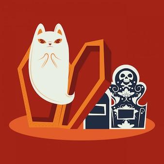 Gato de halloween disfarçado de personagem fantasma