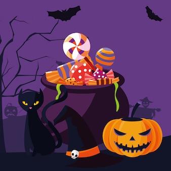 Gato de halloween e abóbora dos desenhos animados