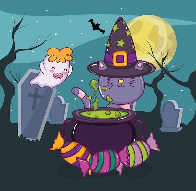 Gato de halloween e fantasma