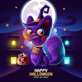 Gato de halloween em design plano