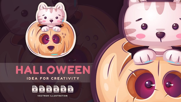 Gato de halloween na abóbora - adesivo bonito.