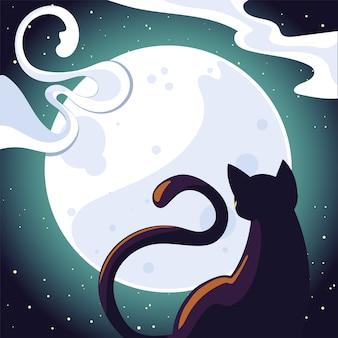 Gato de halloween na frente da lua, ilustração de feriado e tema assustador