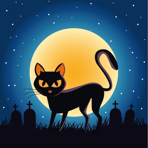Gato de halloween preto com lua cheia no cemitério à noite