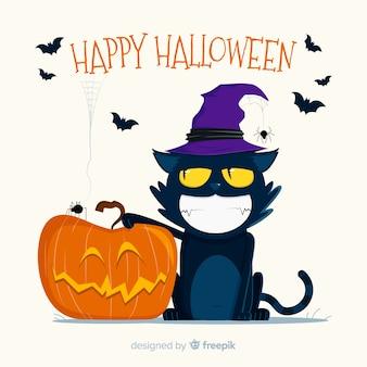 Gato de halloween sorridente com design plano