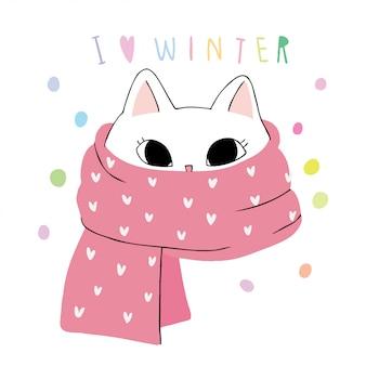Gato de inverno bonito dos desenhos animados e cachecol