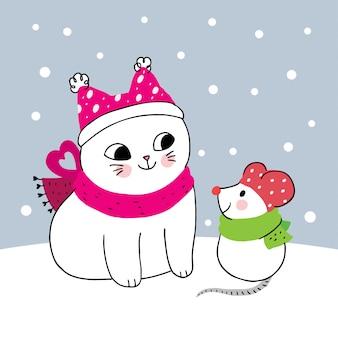Gato de inverno bonito dos desenhos animados e mouse