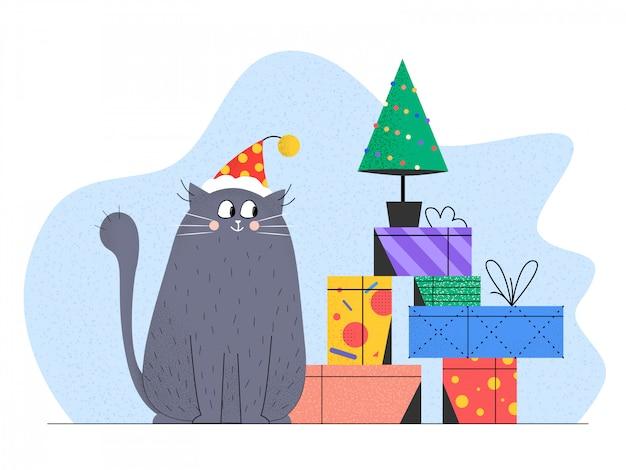 Gato de natal com a caixa de presente