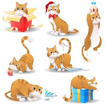 Gato de natal desenho animado