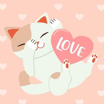 Gato de personagem com coração