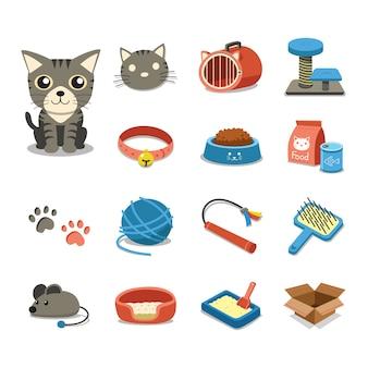 Gato de personagem de desenho animado e conjunto de acessórios