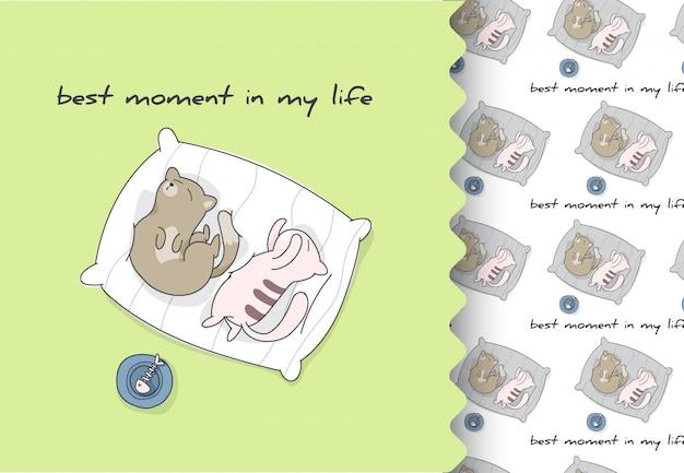 Gato de quadrinhos desenhos animados tempo de dormir plana