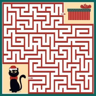 Gato de quebra-cabeça de labirinto de natal e presente, ilustração vetorial de cor.