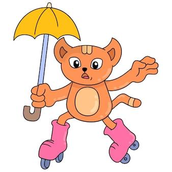 Gato de rosto bonito usando guarda-chuva jogando patinação, arte de ilustração vetorial. imagem de ícone do doodle kawaii.