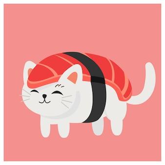Gato de vaquinha bonito no sushi, sushi japonês, sushi do atum.