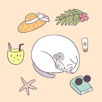 Gato de verão bonito dos desenhos animados dormindo