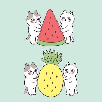 Gato de verão bonito dos desenhos animados e frutas