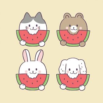 Gato de verão bonito dos desenhos animados e melancia