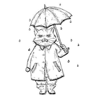 Gato descontente com capa de chuva sob o guarda-chuva na chuva.