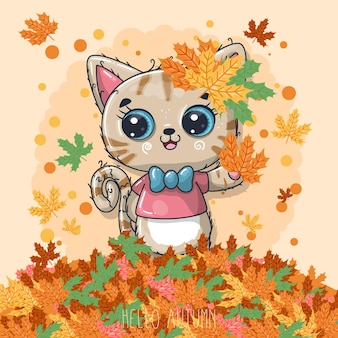 Gato desenhado à mão com outono