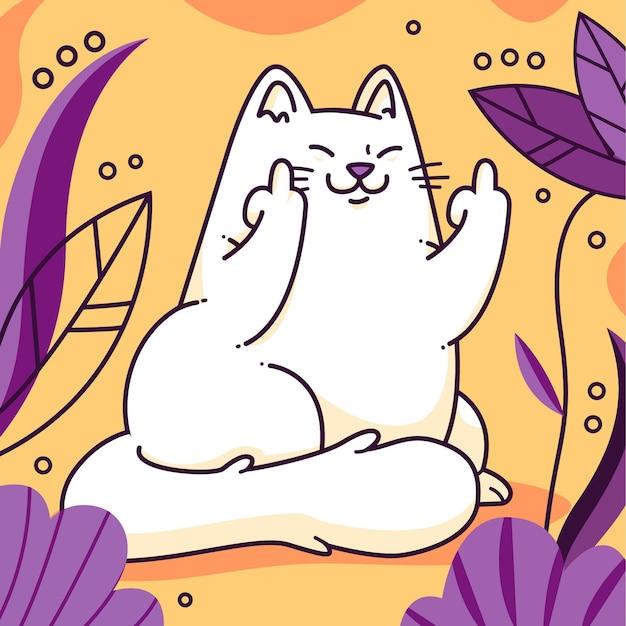 Gato desenhado à mão mostrando o símbolo de foda-se
