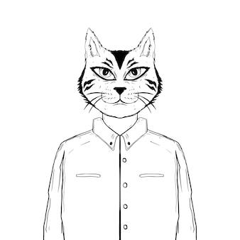 Gato desenhado à mão preto e branco