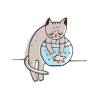 Gato desobediente tentando pegar peixes de aquário