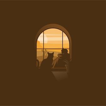 Gato do deserto logotipo design ilustração