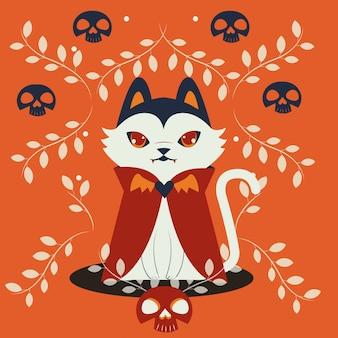 Gato do dia das bruxas disfarçado de personagem drácula