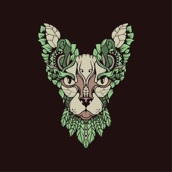 Gato do egito com folhas