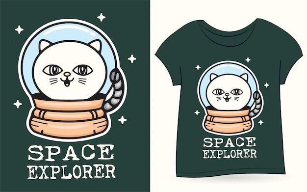 Gato do espaço para camiseta